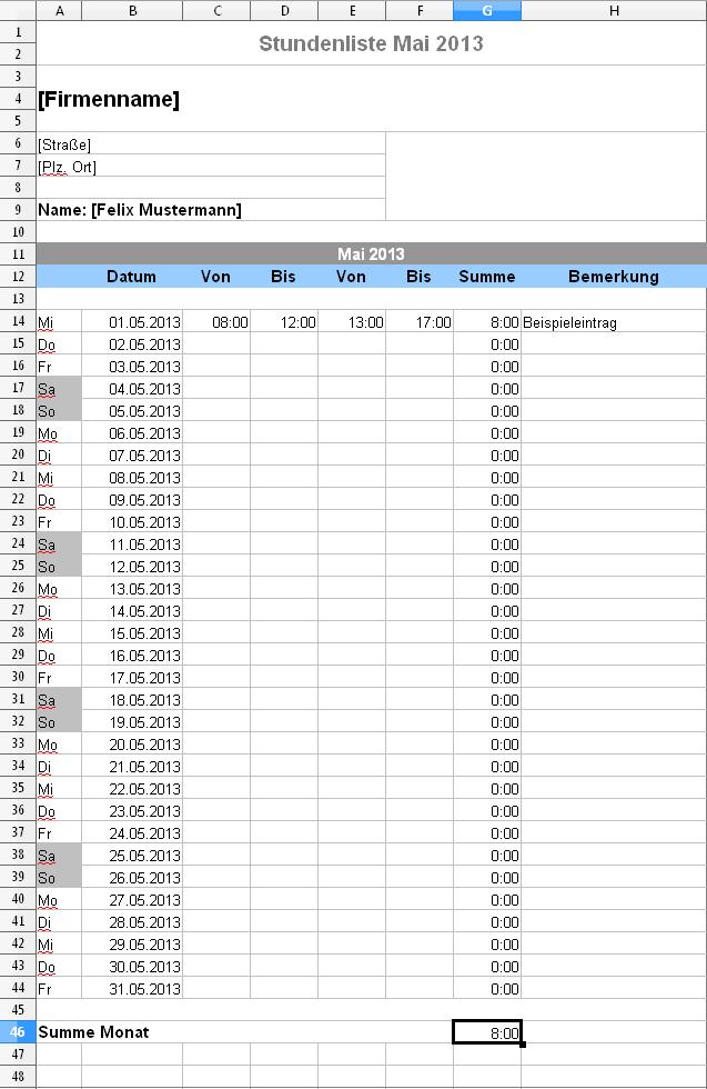 Excel Stundenliste Fur Den Aktuelle Monat Herunterladen