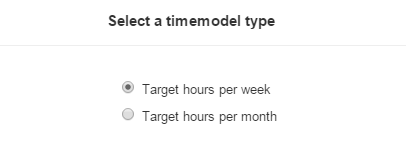 Select working time model type