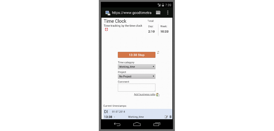 time tracking by tablet or smartphone